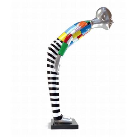 Statua scultura decorativa disegno BENVENUTO in resina H155 cm (Multicolore)