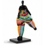 Statue dekorative Skulptur Design FRAU JAMBE LEVEE in Harz H80 cm (mehrfarbig)