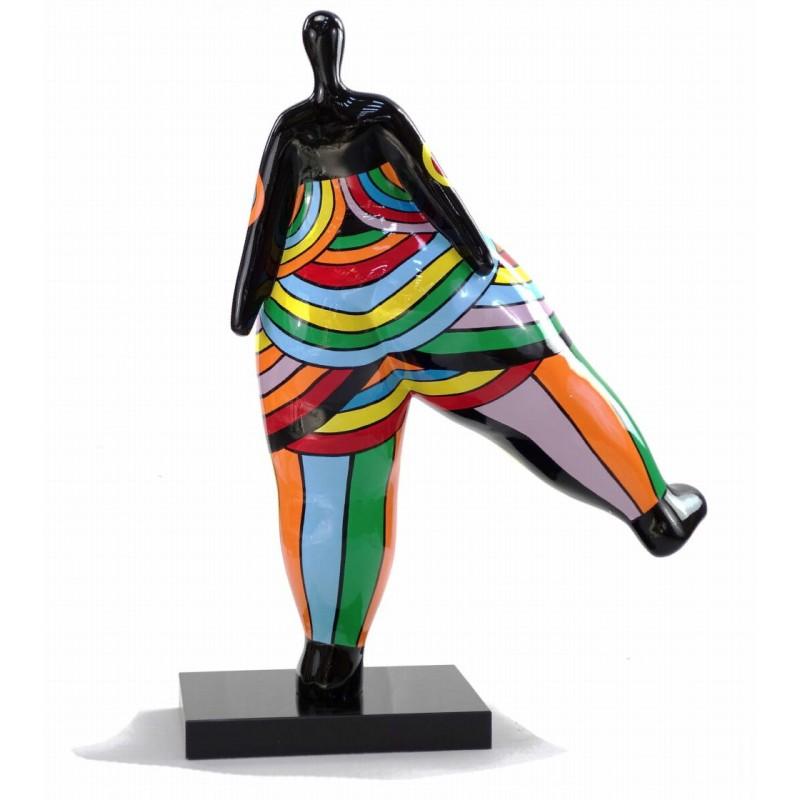 Statue sculpture décorative design FEMME JAMBE LEVEE en résine H80 cm (Multicolore) - image 43793