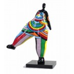 Statue sculpture décorative design FEMME JAMBE LEVEE en résine H80 cm (Multicolore)