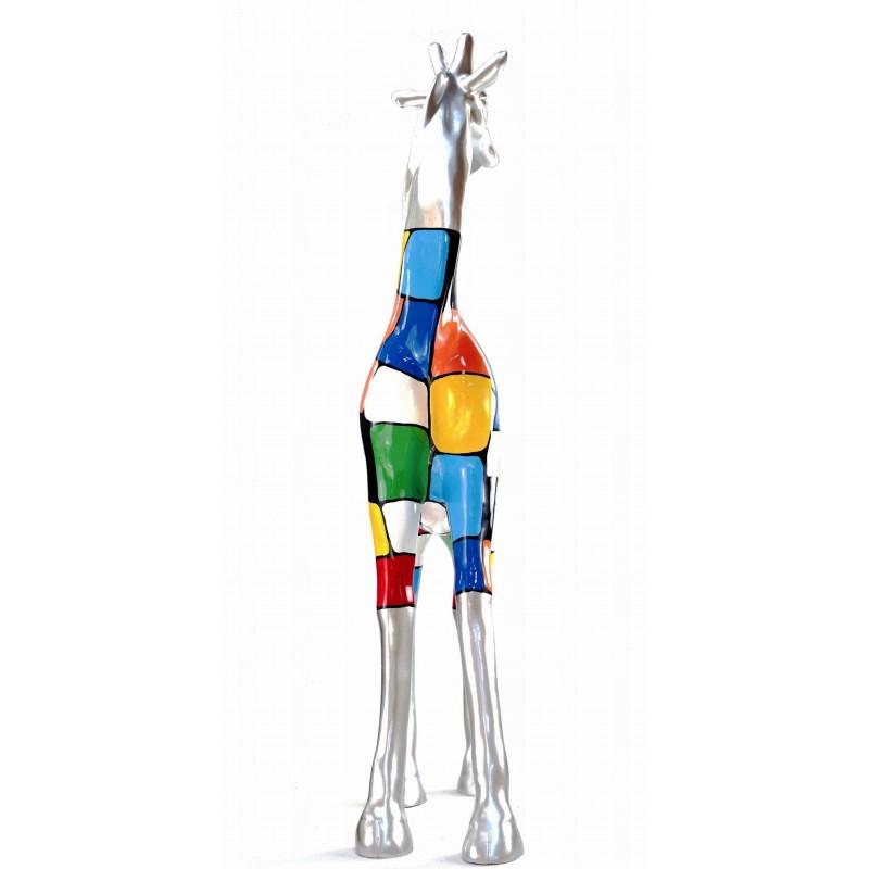 Statua scultura decorativa disegno GIRAFE resina H162cm (multicolore) - image 43806