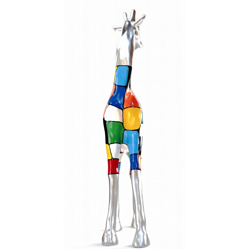 Statue decorative sculpture design GIRAFE resin H162cm (Multicolored) - image 43806