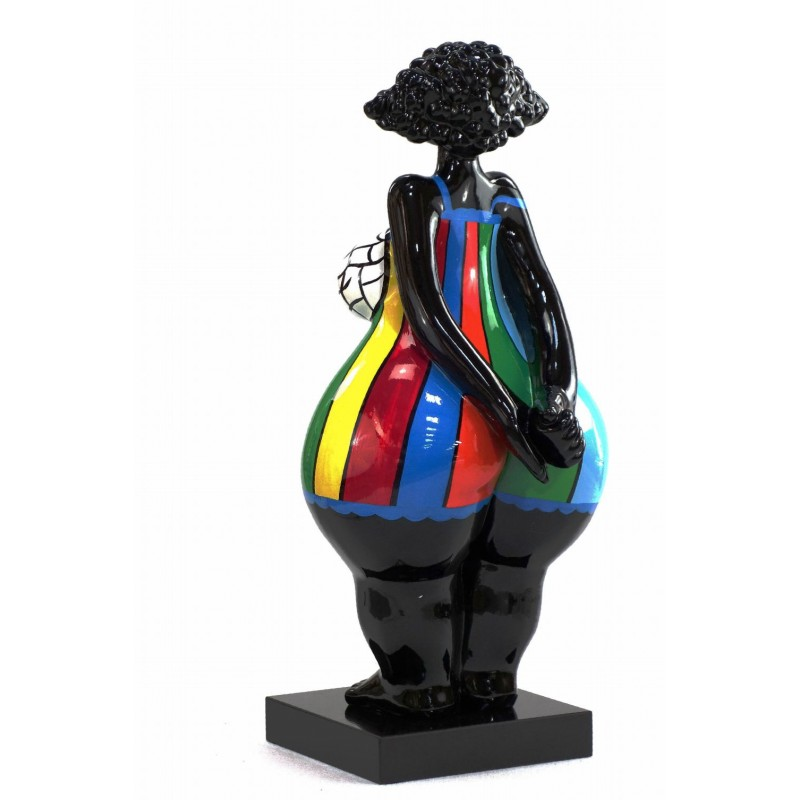 Statue sculpture décorative design FEMME EXOTIQUE DEBOUT en résine H66 cm (Multicolore) - image 43810