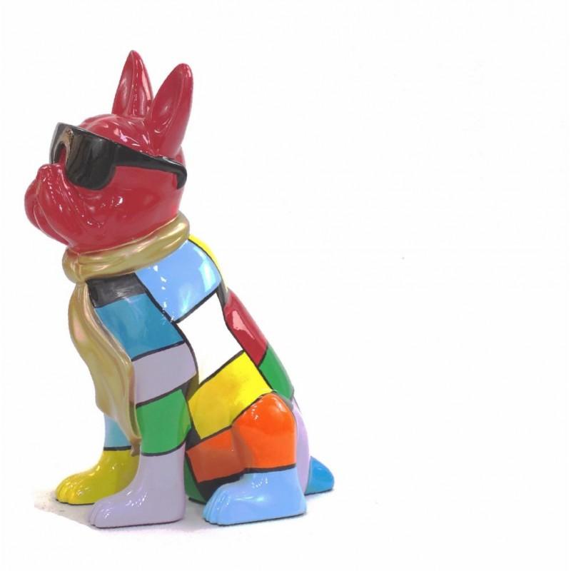Statue decorative sculpture design CHIEN A CRAVATE DOREE in resin H36 cm (Multicolored) - image 43813