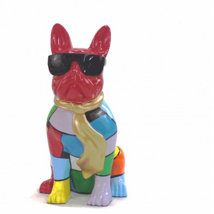 Statue decorative sculpture design CHIEN A CRAVATE DOREE in resin H36 cm (Multicolored)
