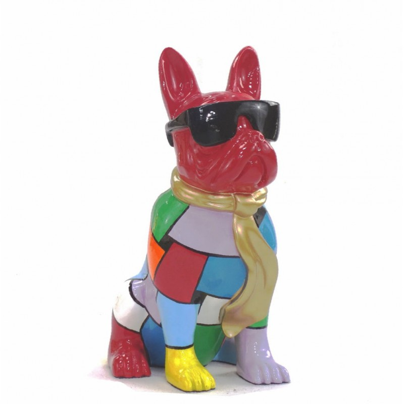 Statue decorative sculpture design CHIEN A CRAVATE DOREE in resin H36 cm (Multicolored) - image 43815