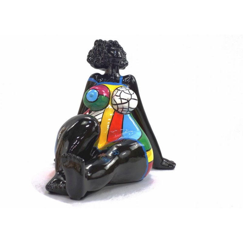Statue decorative sculpture design WOMAN EXOTIC ASSISE in resin H38 cm (Multicolored) - image 43828