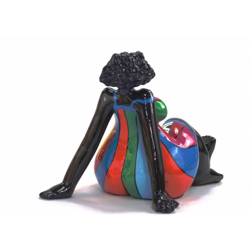 Statue decorative sculpture design WOMAN EXOTIC ASSISE in resin H38 cm (Multicolored) - image 43832
