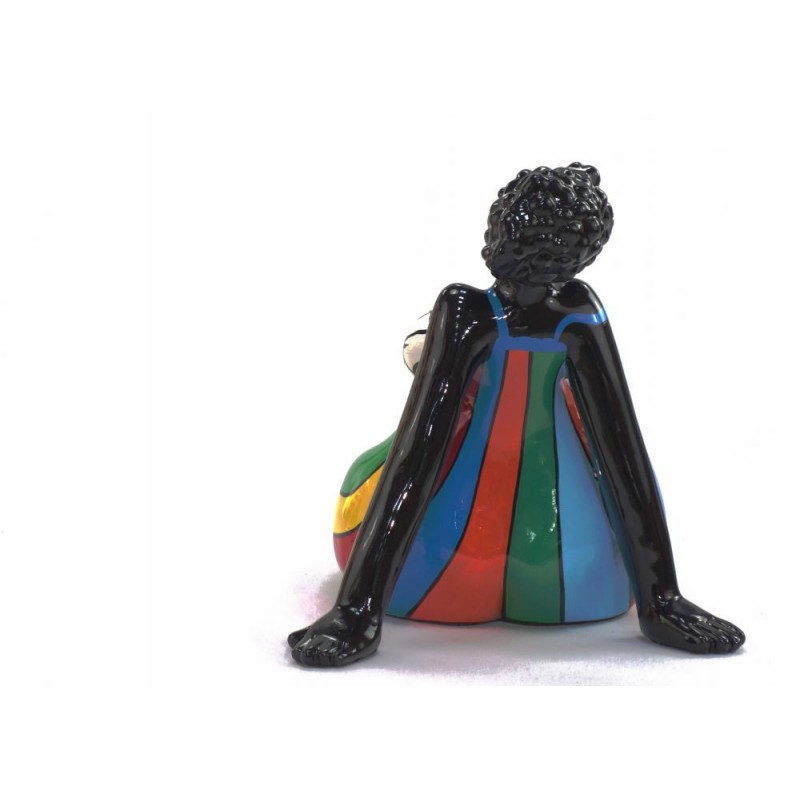Statue decorative sculpture design WOMAN EXOTIC ASSISE in resin H38 cm (Multicolored) - image 43833