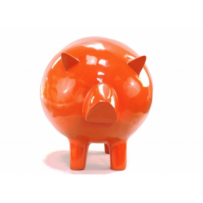 Statue decorative sculpture design COCHON in resin H65 cm (Orange)