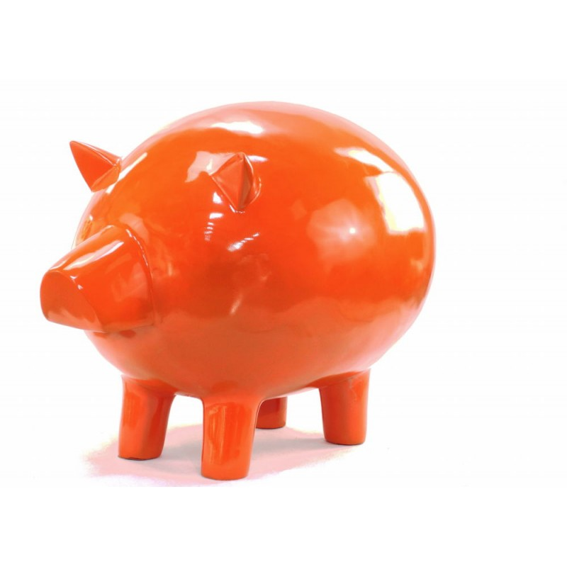 Statue decorative sculpture design COCHON in resin H65 cm (Orange) - image 43835