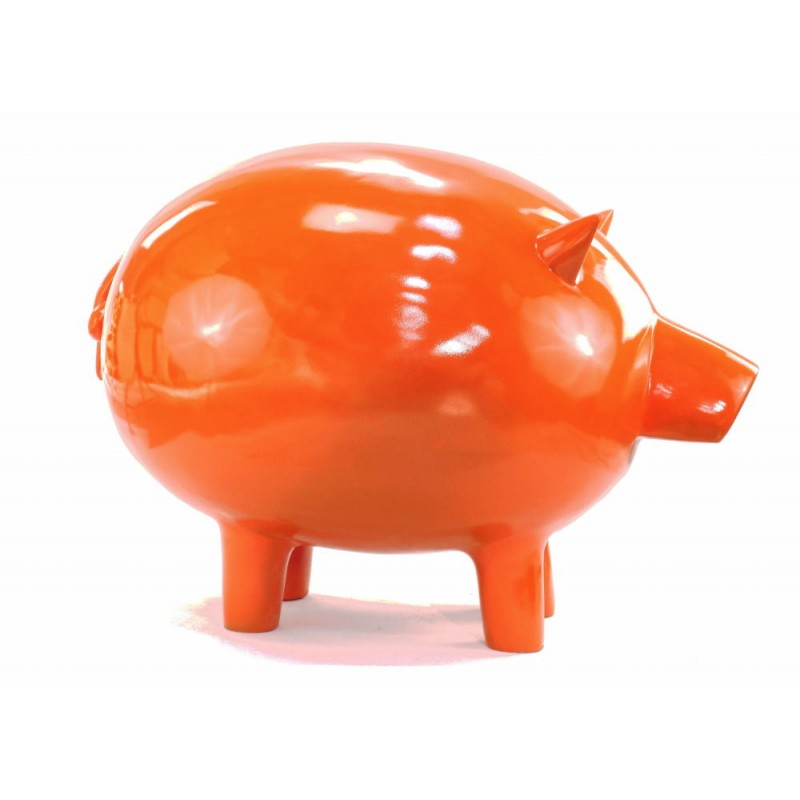 Statue decorative sculpture design COCHON in resin H65 cm (Orange) - image 43837