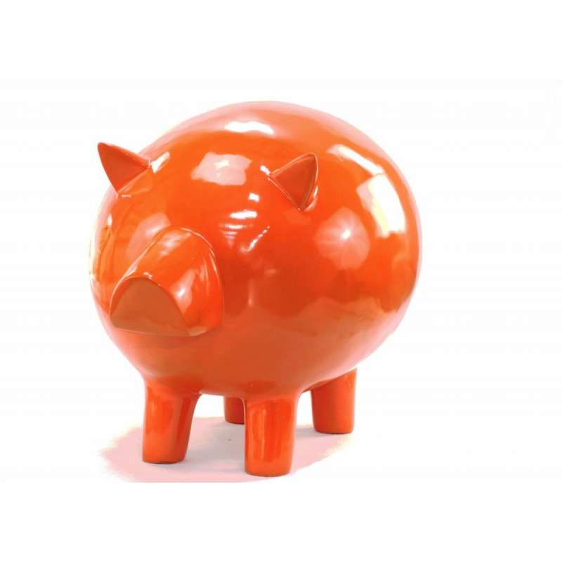 Statue decorative sculpture design COCHON in resin H65 cm (Orange) - image 43839