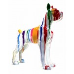 Statue sculpture décorative design CHIEN DEBOUT FLASHY en résine H150 cm (Multicolore)