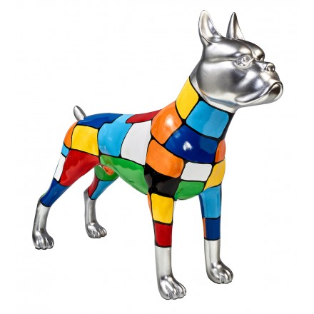 Statue sculpture décorative design CHIEN DEBOUT POP ART en résine H45 cm (Multicolore)