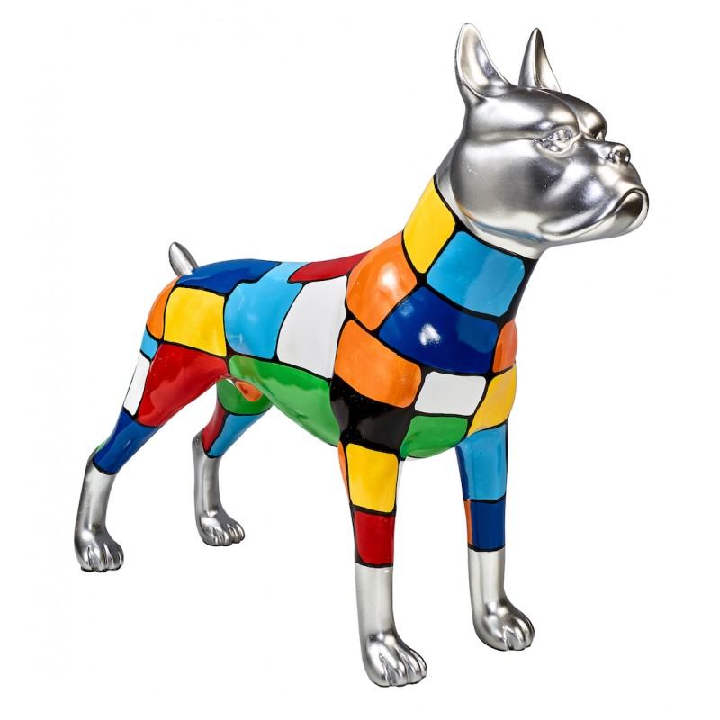 Diseño de escultura decorativa de la estatua CHIEN DEBOUT POP ART en resina H45 cm (Multicolor)