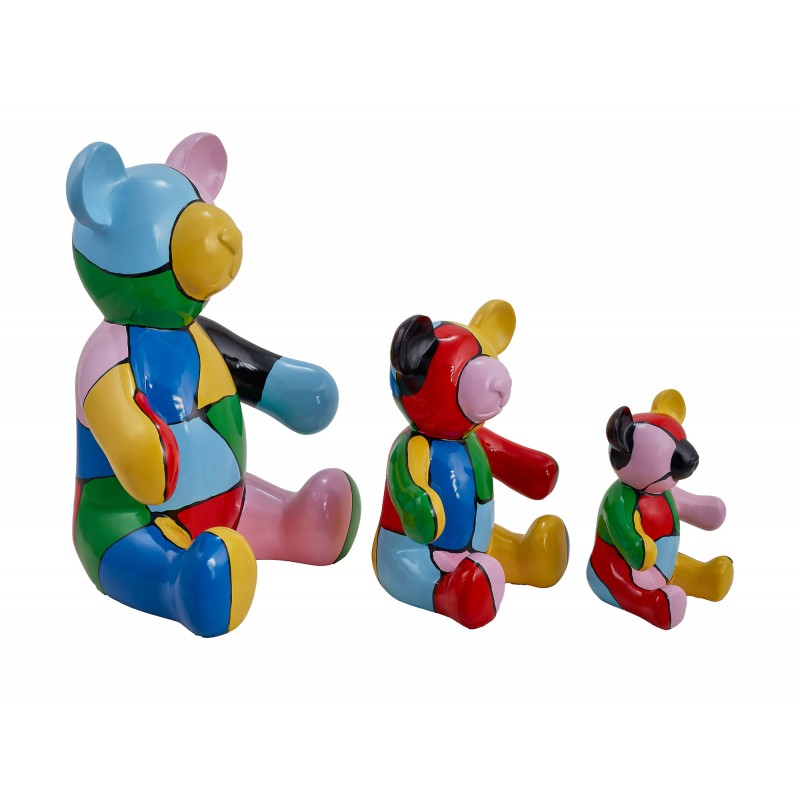 Set de 3 statues sculptures décoratives design NOUNOURS en résine H46/29/21 cm (Multicolore)