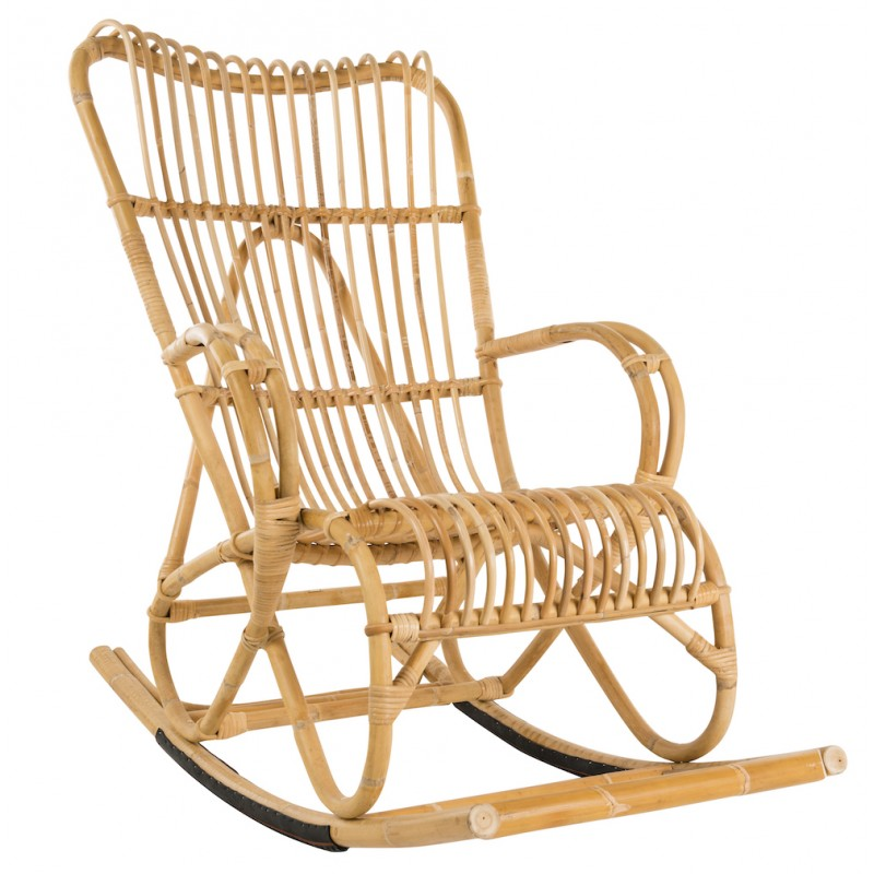 Carne a dondolo in stile vintage in rattan naturale - image 44315