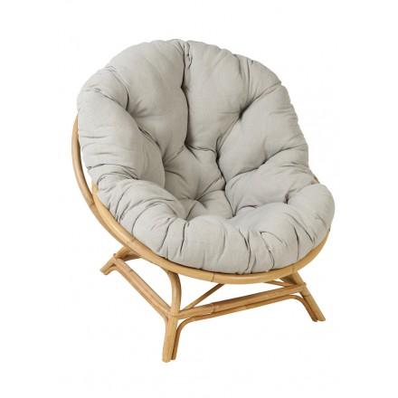 Shell XXL sedia in rattan naturale in stile vintage con cuscino