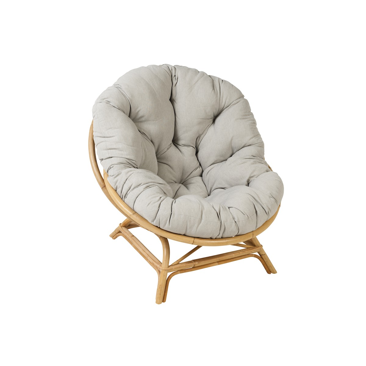 Shell Xxl Vintage Style Natural Rattan Chair With Cushion