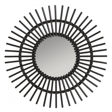 Mirror in rattan SOLEIL vintage style (black)
