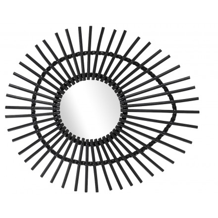 Espejo de ratán ELLIPSE de estilo vintage (negro)