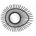 Miroir en rotin ELLIPSE style vintage (noir)