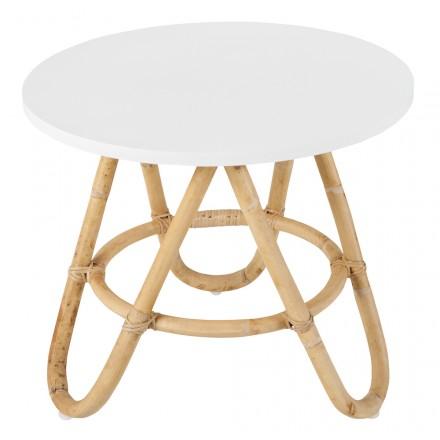 Tavolo basso, pezzo di divano rattan DIABOLO (50 cm) (bianco)