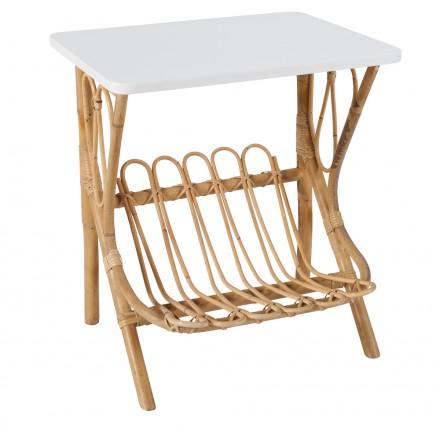 Tavolo basso, divano in rattan LYDIE (bianco)