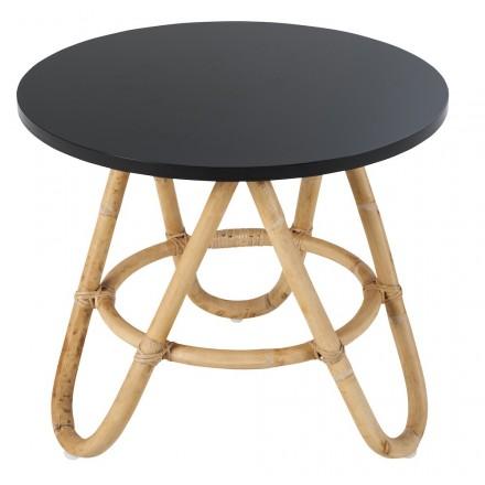 Tavolo basso, PIECE della tavola di abroccia DIABOLO in rattan (60 cm) (nero)