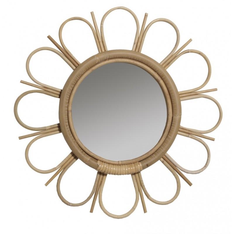 Espejo de ratán de estilo vintage MARGUERITTE