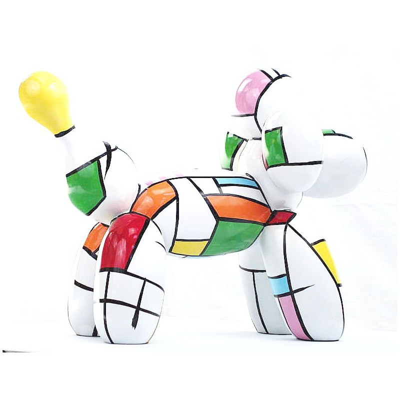 Statue dog Harlequin balloon design decorative sculpture in resin H35 (multicolor) - image 44359