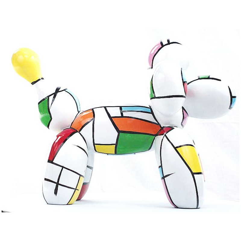 Statue dog Harlequin balloon design decorative sculpture in resin H35 (multicolor) - image 44360