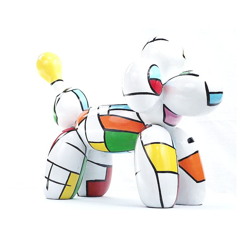 Statue dog Harlequin balloon design decorative sculpture in resin H35 (multicolor) - image 44361