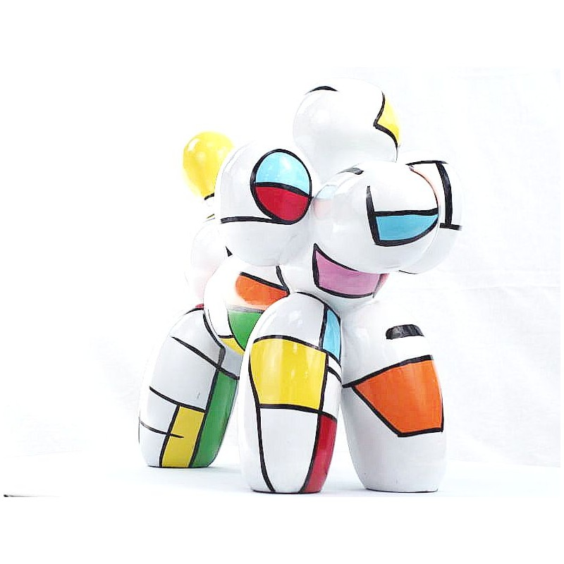 Statue dog Harlequin balloon design decorative sculpture in resin H35 (multicolor) - image 44362