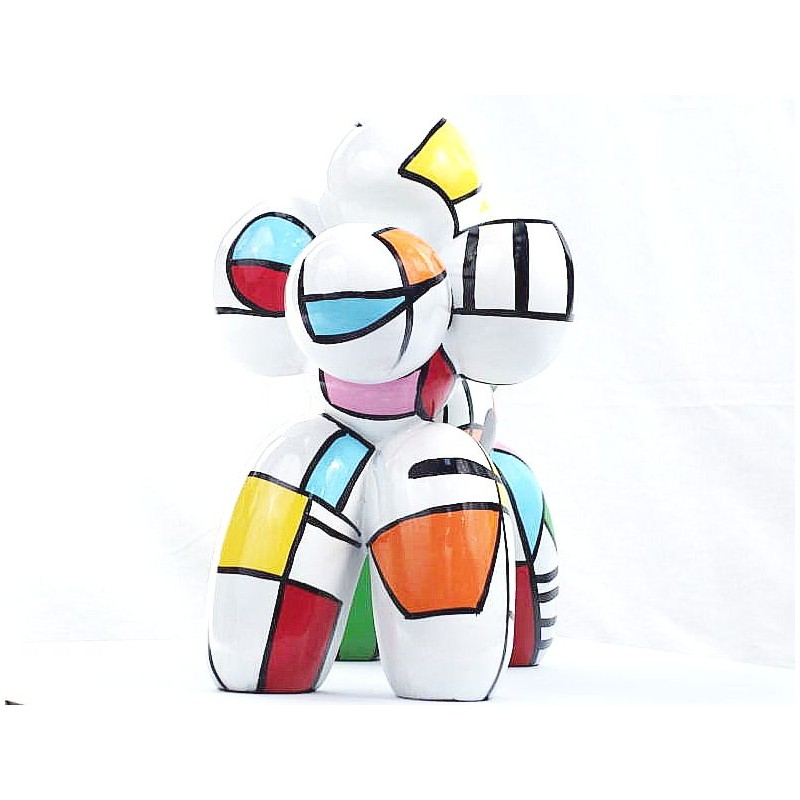 Statue dog Harlequin balloon design decorative sculpture in resin H35 (multicolor) - image 44363