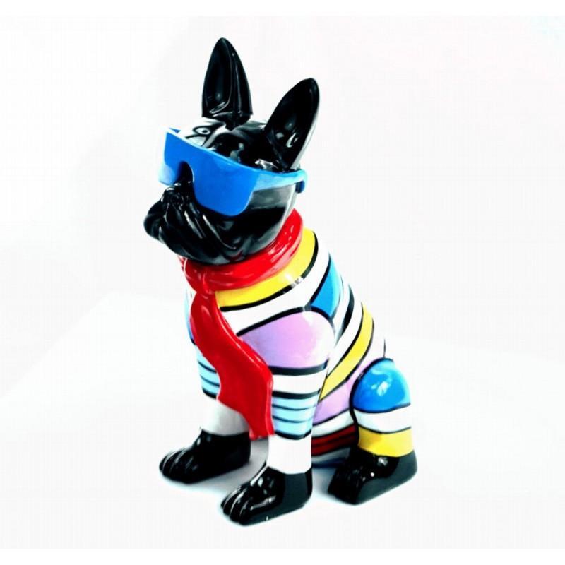 Statuette sculpture décorative design CHIEN ASSIS en résine H36 (multicolore) - image 44370