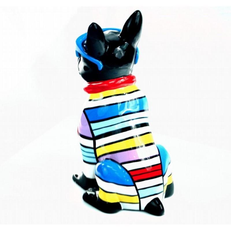 Statuette sculpture décorative design CHIEN ASSIS en résine H36 (multicolore) - image 44372