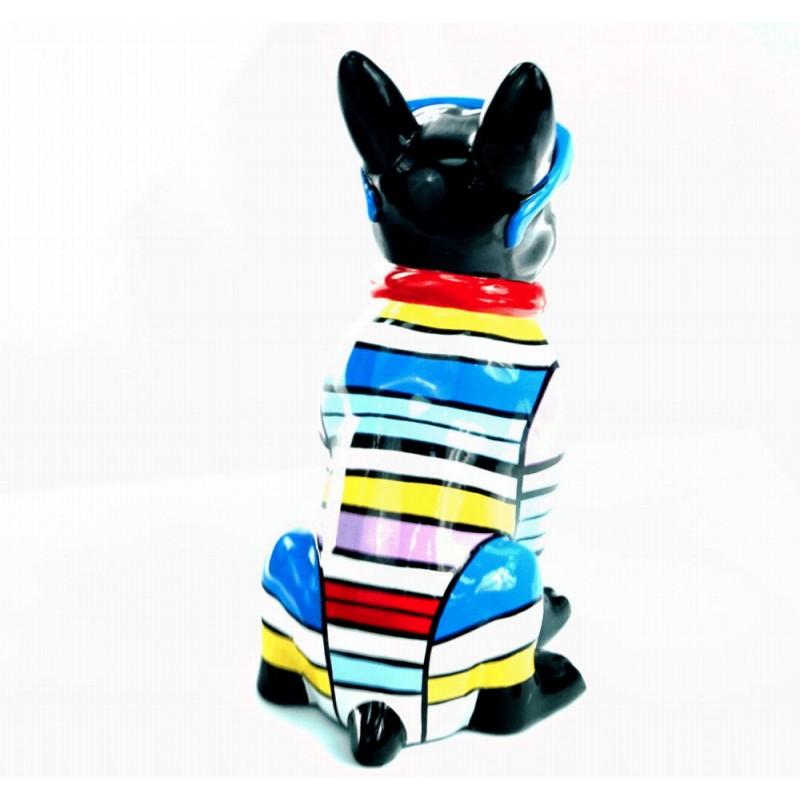 Statuette sculpture décorative design CHIEN ASSIS en résine H36 (multicolore) - image 44373