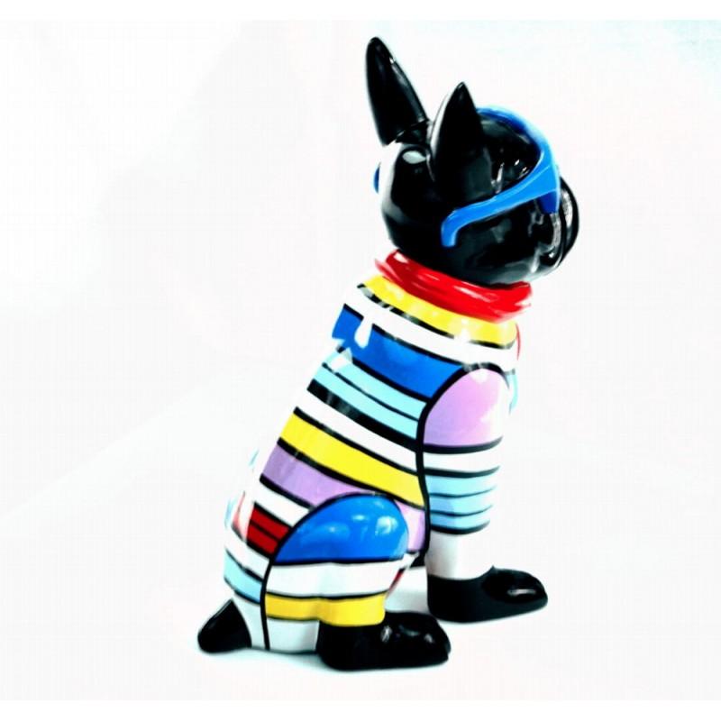 Statuette sculpture décorative design CHIEN ASSIS en résine H36 (multicolore) - image 44374