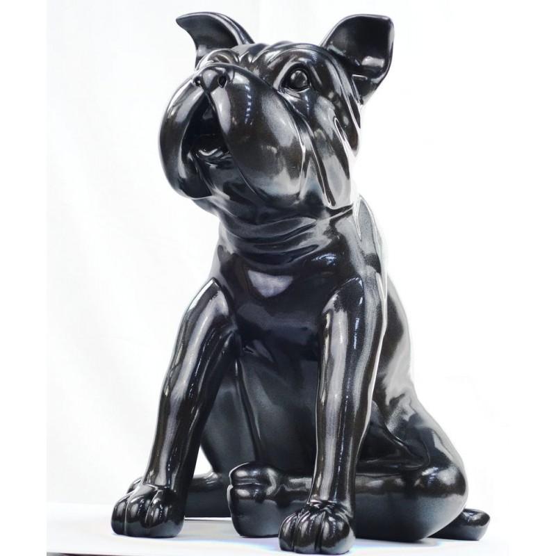 Statuette sculpture décorative design CHIEN en résine (gris foncé, canon de fusil) - image 44394