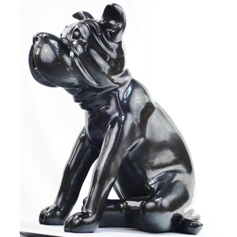 Statuette sculpture décorative design CHIEN en résine (gris foncé, canon de fusil) - image 44395