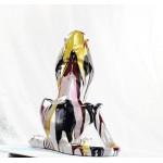 Statuette sculpture décorative design PANTHERE SAVANE en résine H100 (multicolore)