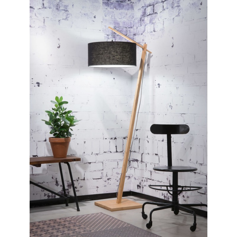 Lampe sur pied en bambou et abat-jour lin écologique ANDES (naturel, noir) - image 44423