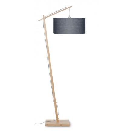Lampe sur pied en bambou et abat-jour lin écologique ANDES (naturel, gris foncé)