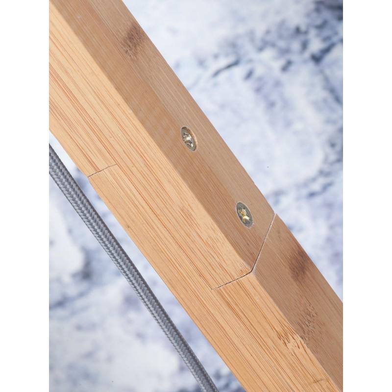 Lampe sur pied en bambou et abat-jour lin écologique ANDES (naturel, gris foncé) - image 44439