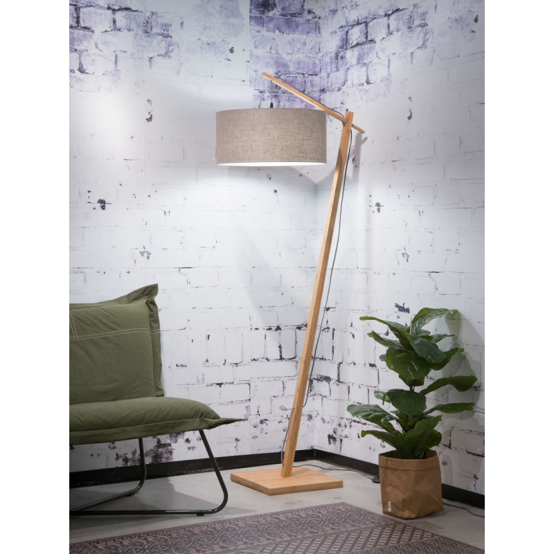 Lampe sur pied en bambou et abat-jour lin écologique ANDES (naturel, lin foncé) - image 44447