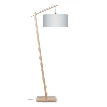 Lampe sur pied en bambou et abat-jour lin écologique ANDES (naturel, gris clair)