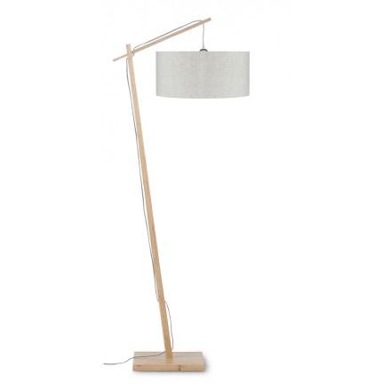Lámpara de pie de bambú ANDES y pantalla de lino ecológica (natural, lino ligero)