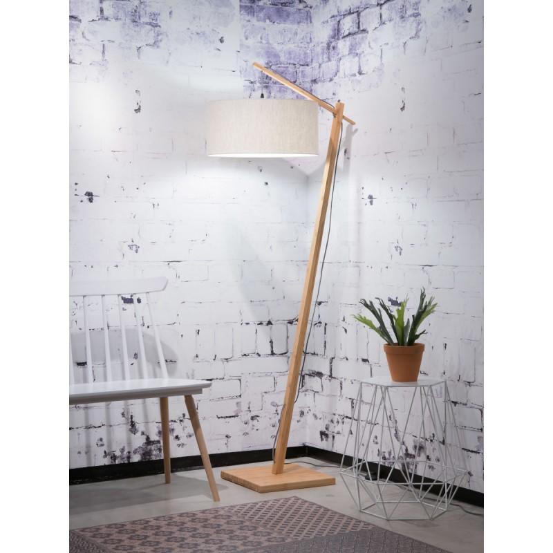 Lampe sur pied en bambou et abat-jour lin écologique ANDES (naturel, lin clair) - image 44459